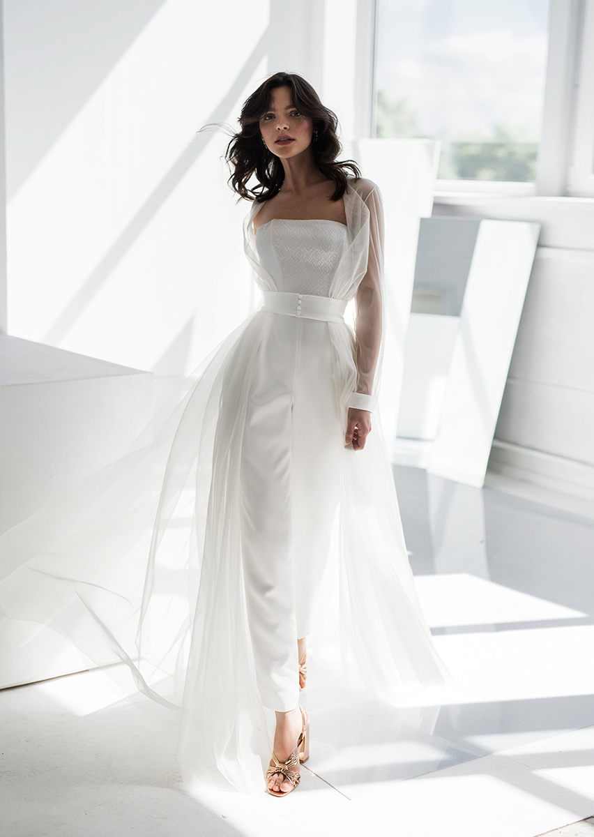 Bridal Jumpsuit with Cape by Edelweiss Bride , $620