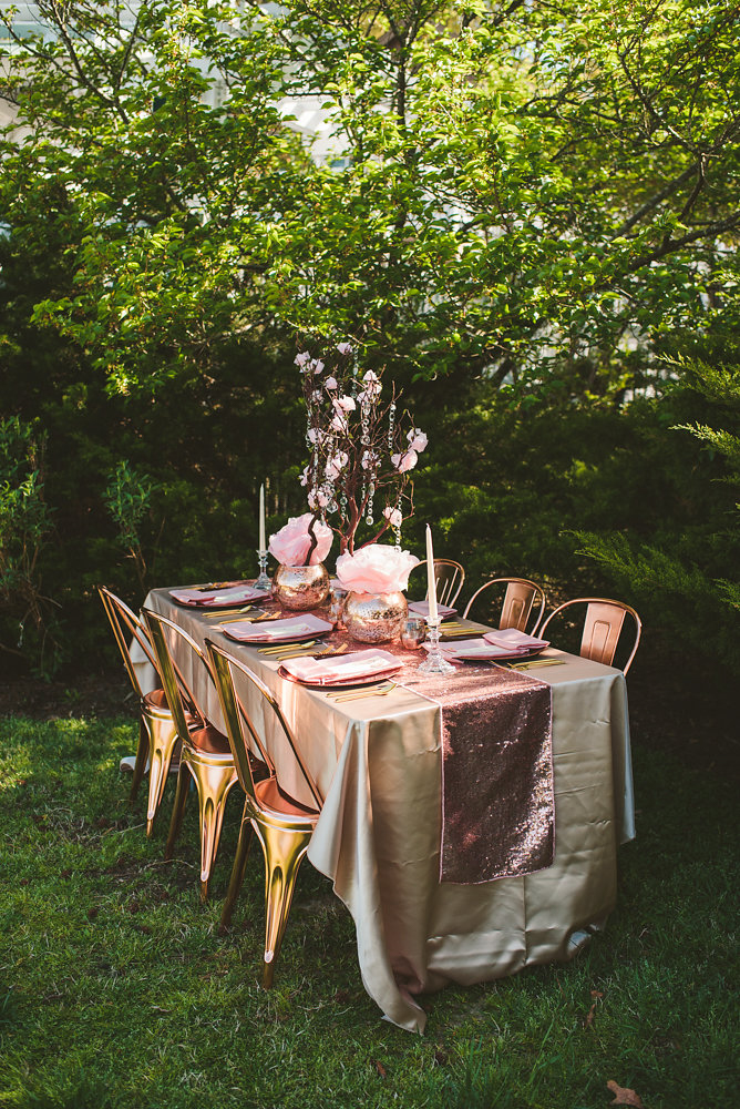 wedding inspiration the boathouse at sunday park midlothian virginia outside table setting with paper flower centerpieces