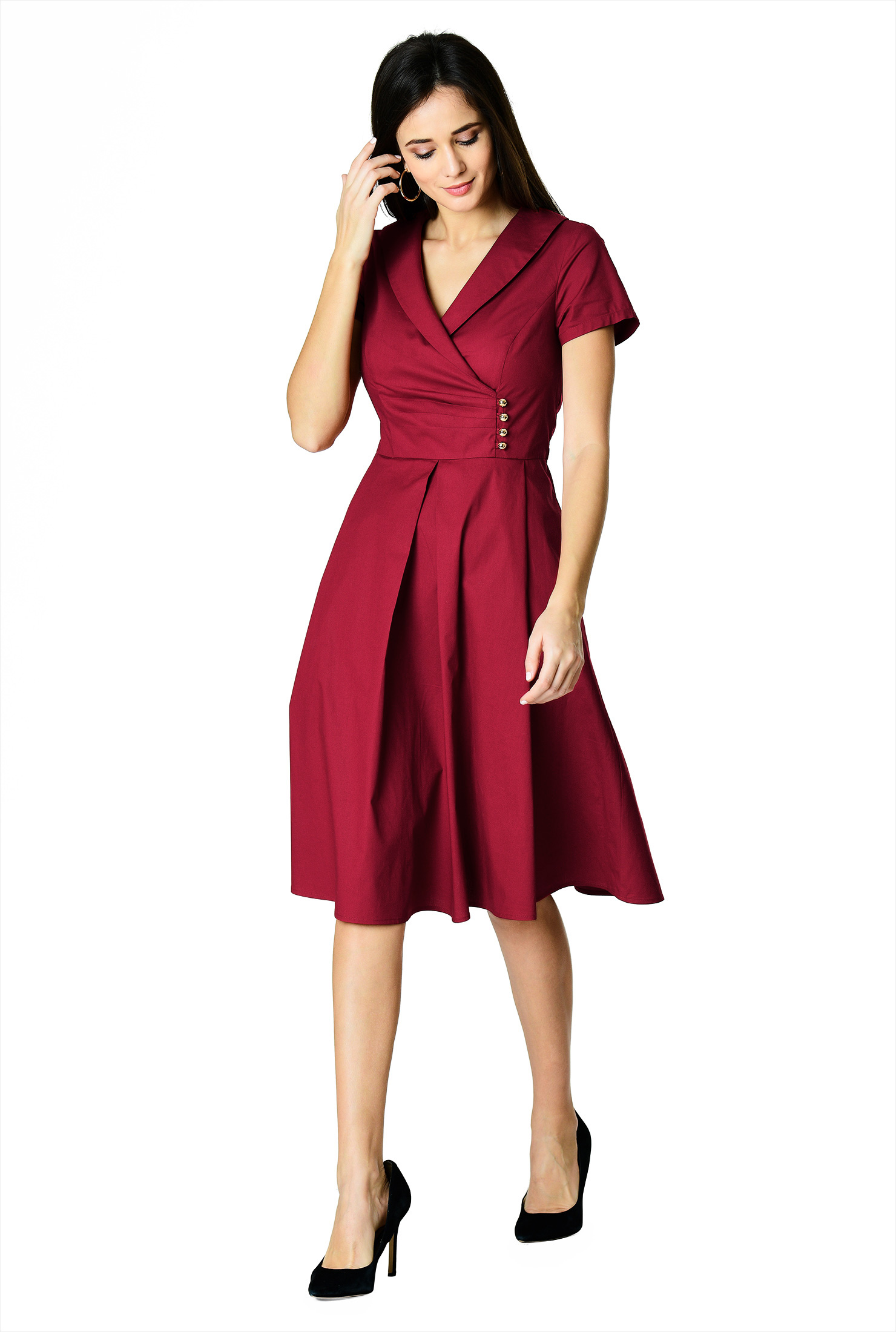 Shawl Collar Surplice Poplin Dress by eShakti