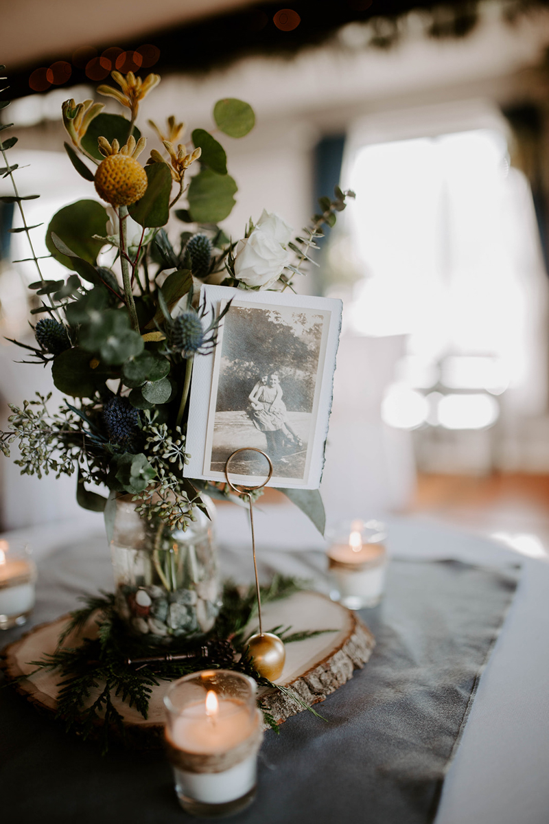 queer surprise home wedding table centerpiece featuring vintage photo