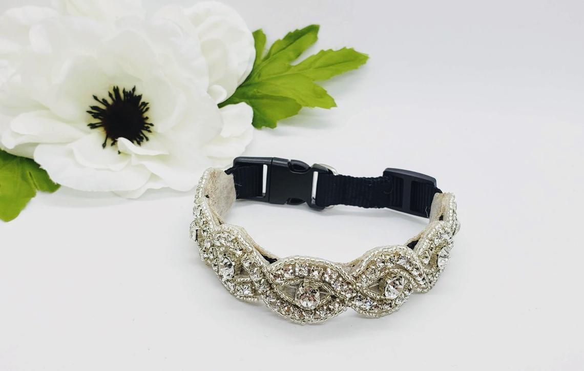 Crystal Beaded Dog Collar by Handmade MKE