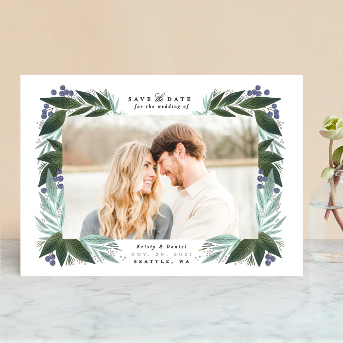 Berry Leaves Save the Date by Alethea and Ruth
