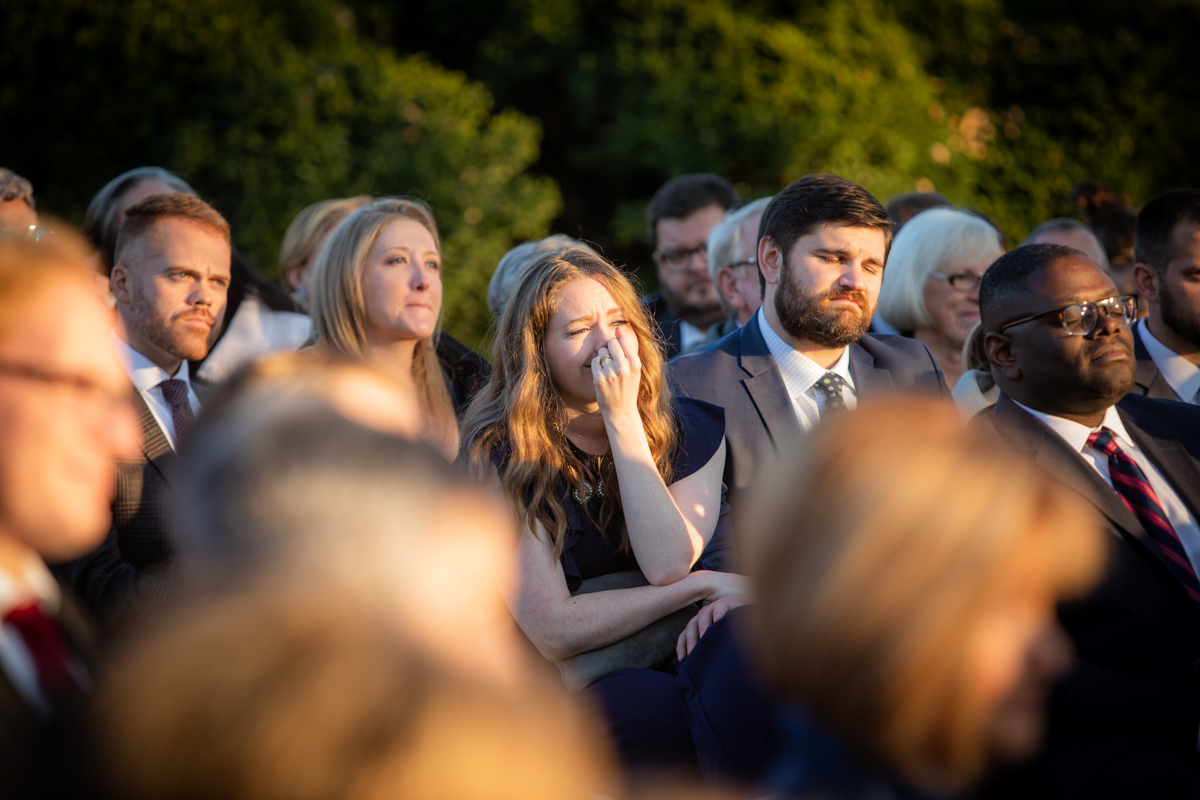 Romantic, Intimate-Feeling Wedding guests crying during ceremony