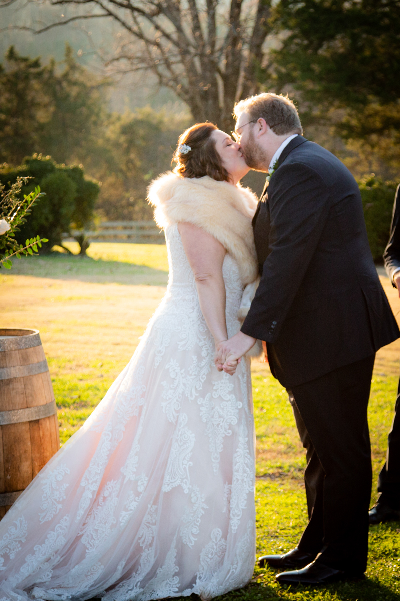 Romantic, Intimate-Feeling Wedding ceremony kiss
