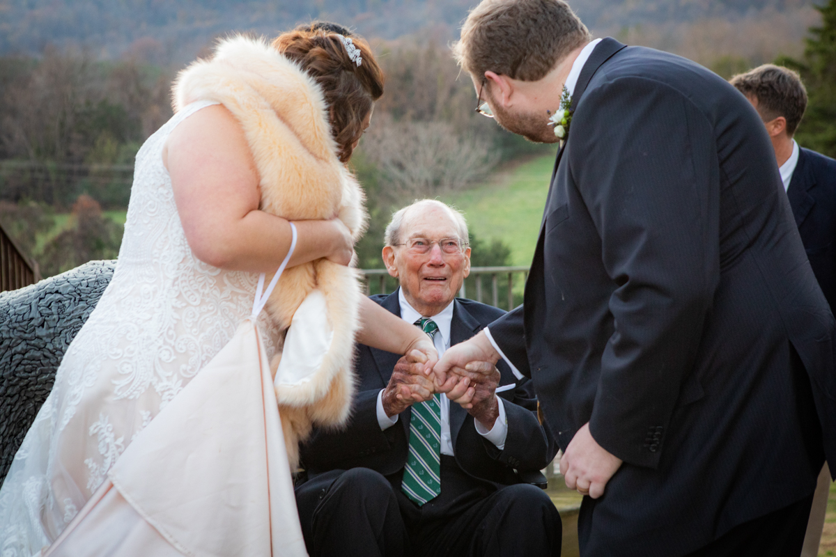 Romantic, Intimate-Feeling Wedding bride and groom greeting guest