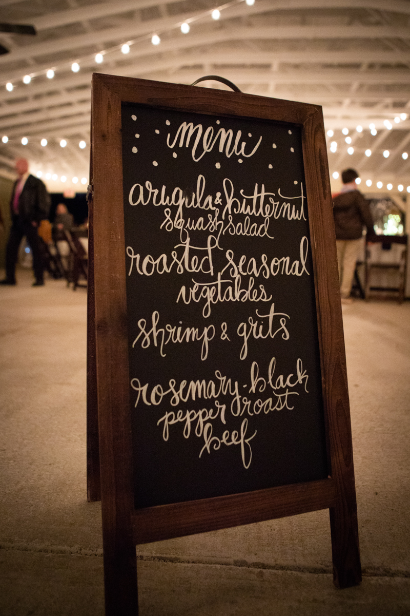 Romantic, Intimate-Feeling Wedding menu written on chalk board