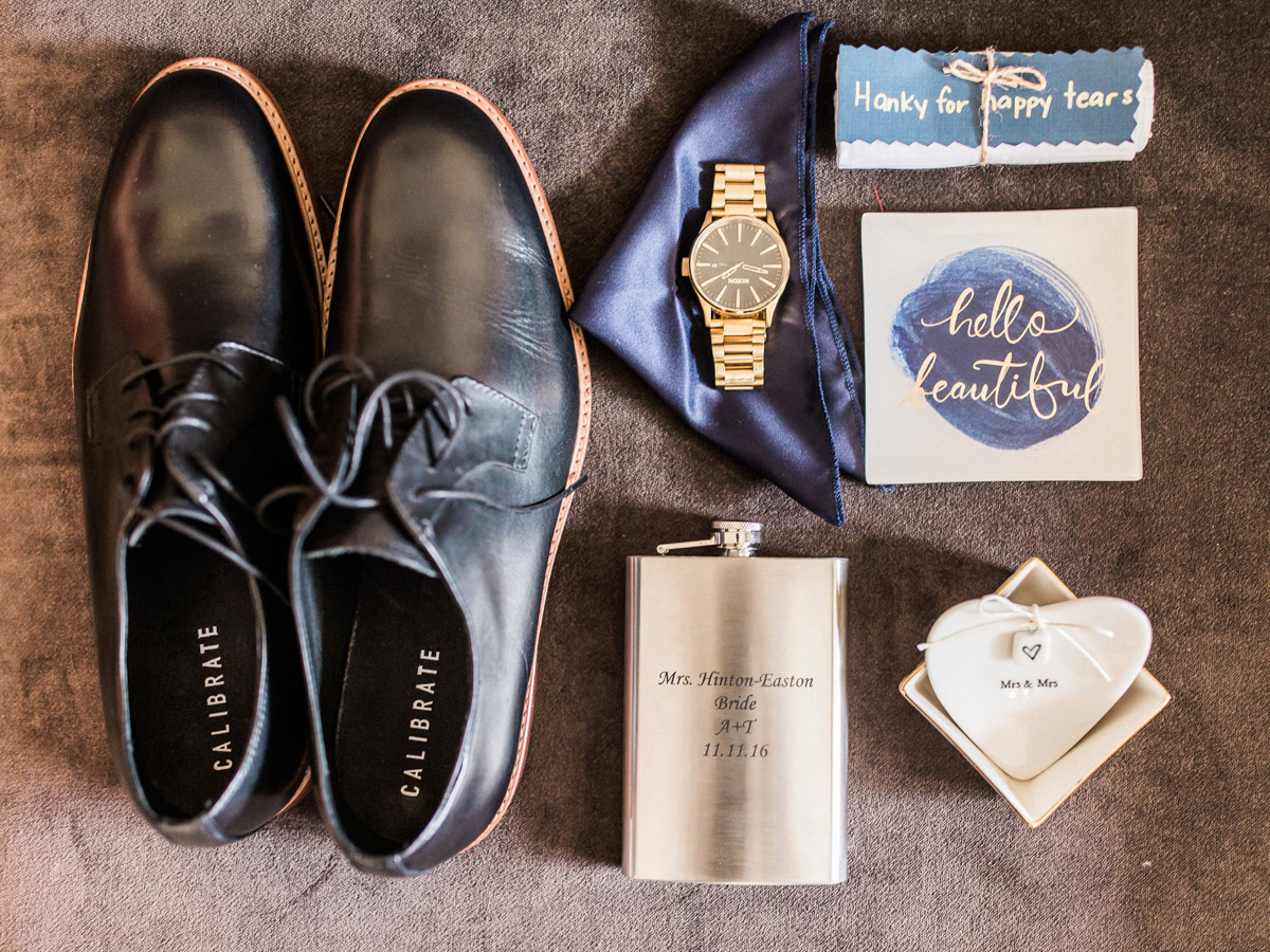 los altos lutheran same-sex wedding alexis's shoes, watch, HANDKERCHIEF, ring plate, custom flask, and card