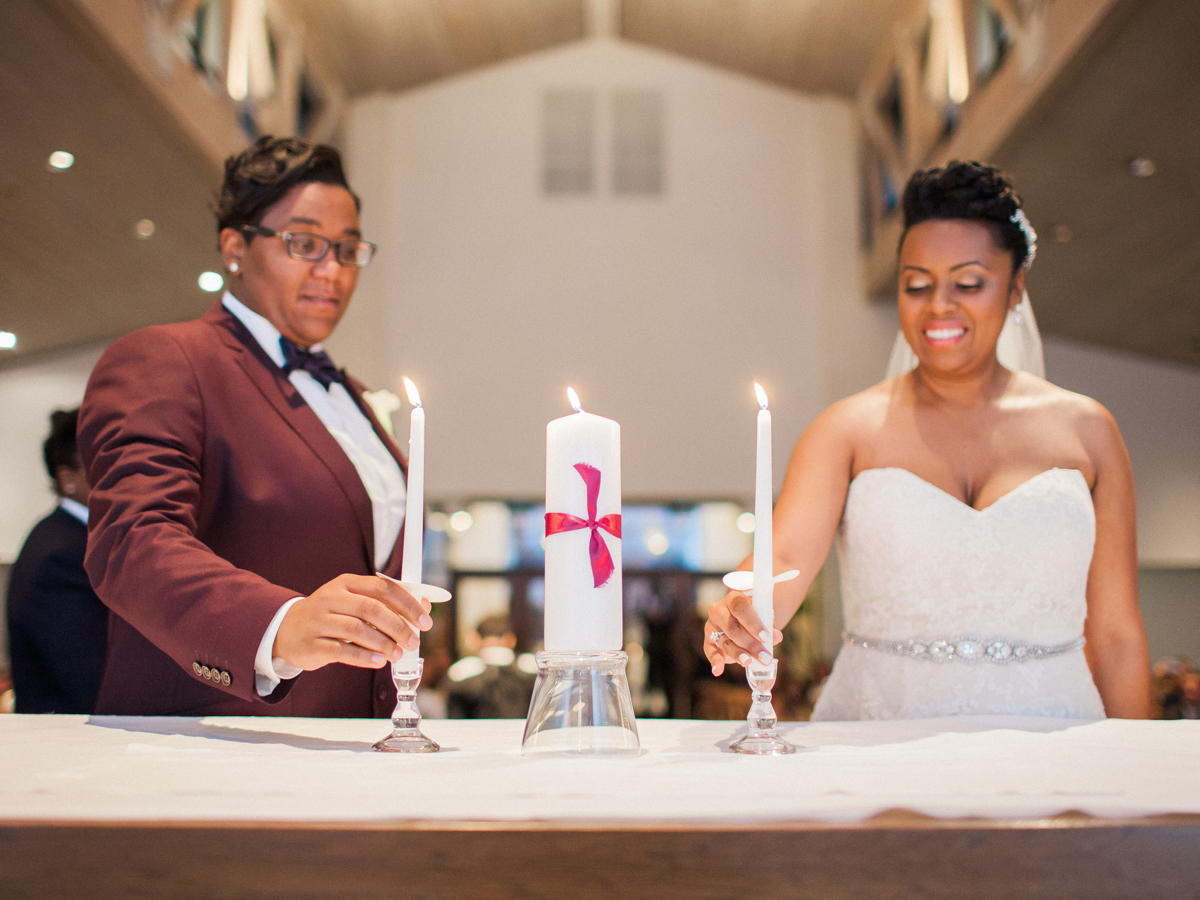 los altos lutheran same-sex wedding brides lighting unity candle
