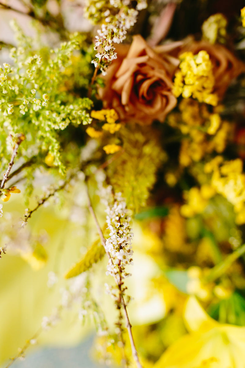 wes anderson inspired wedding brooklyn new york close-up on bright flowers