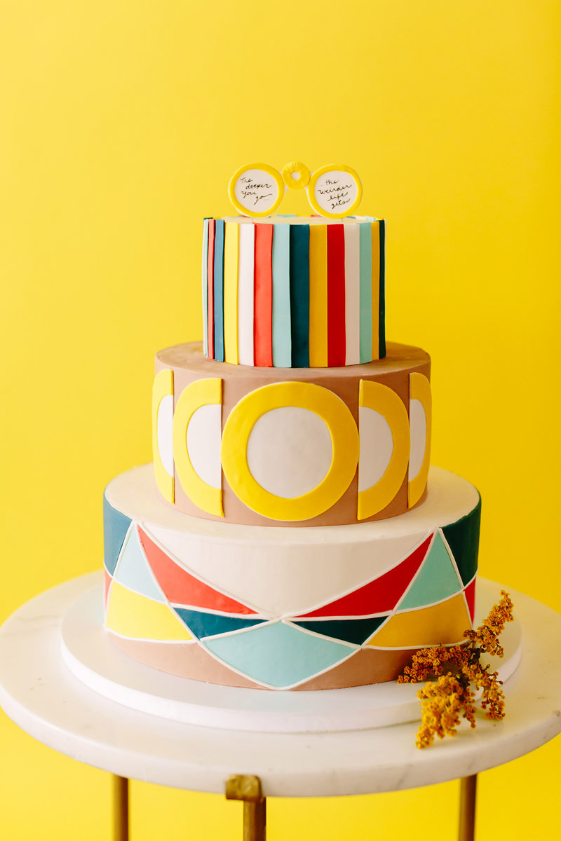 wes anderson inspired wedding brooklyn new york geometric-patterned colorful cake