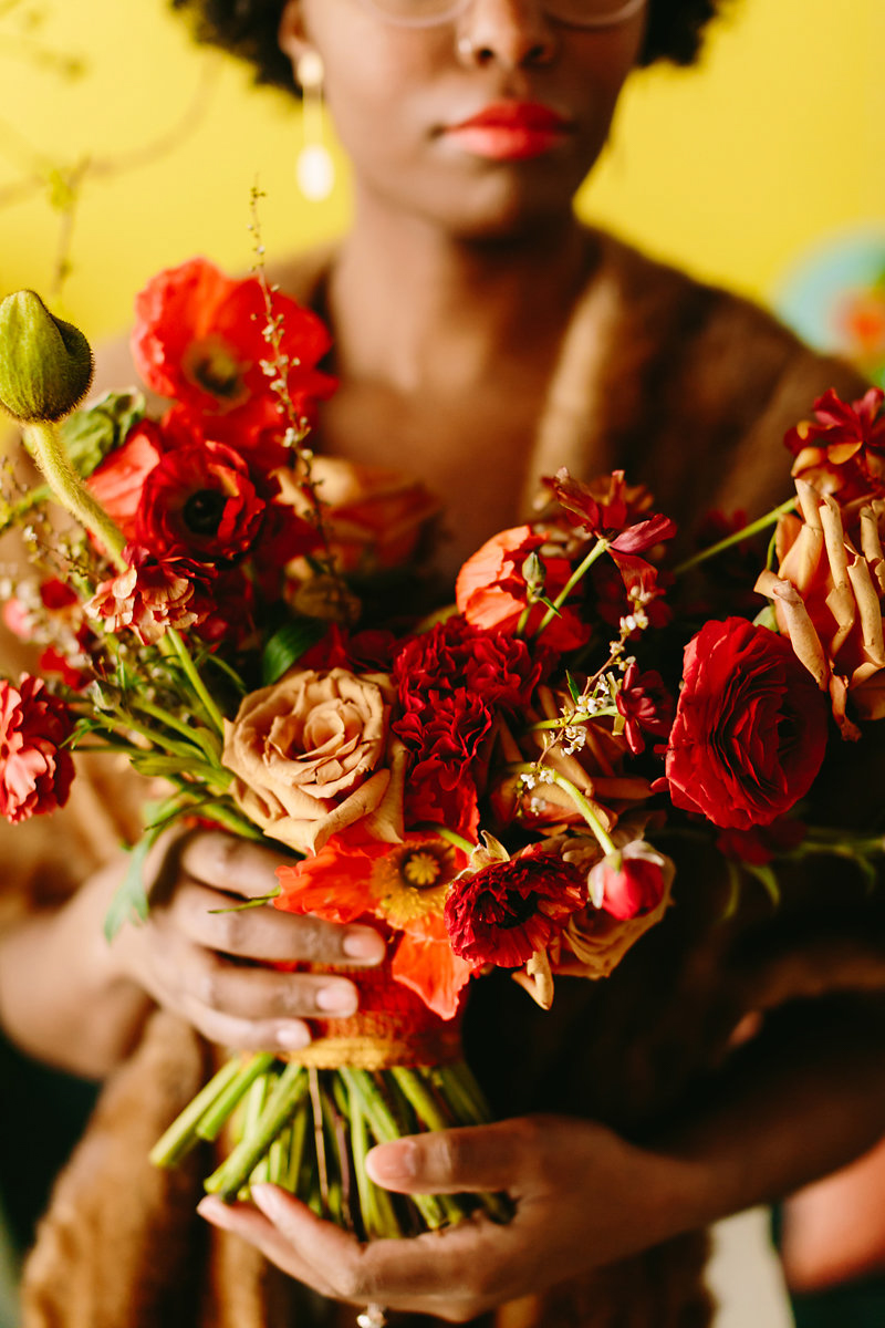 wes anderson inspired wedding brooklyn new york model's bouquet