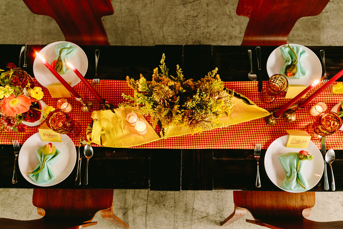 wes anderson inspired wedding brooklyn new york table with gingham runner