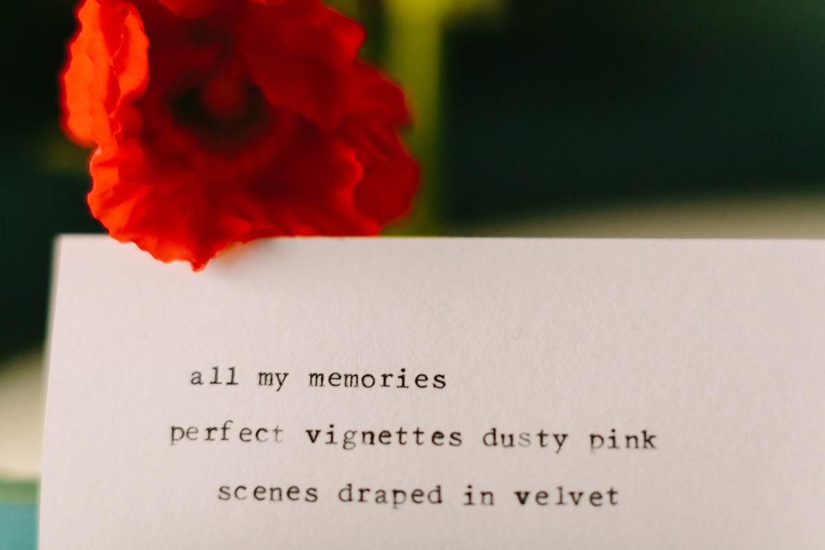 "wes anderson inspired wedding brooklyn new york haiku card: ""all my memories / perfect vignettes dusty pink / scenes draped in velvet"""