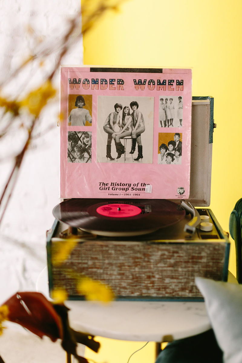 wes anderson inspired wedding brooklyn new york record player