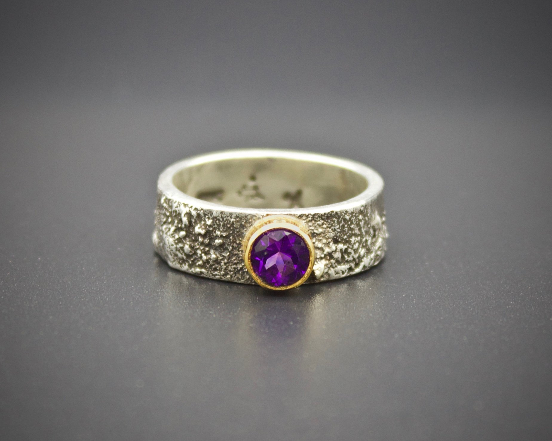 Moondust in Argentium Ring with Amethyst by Forge & Fountain