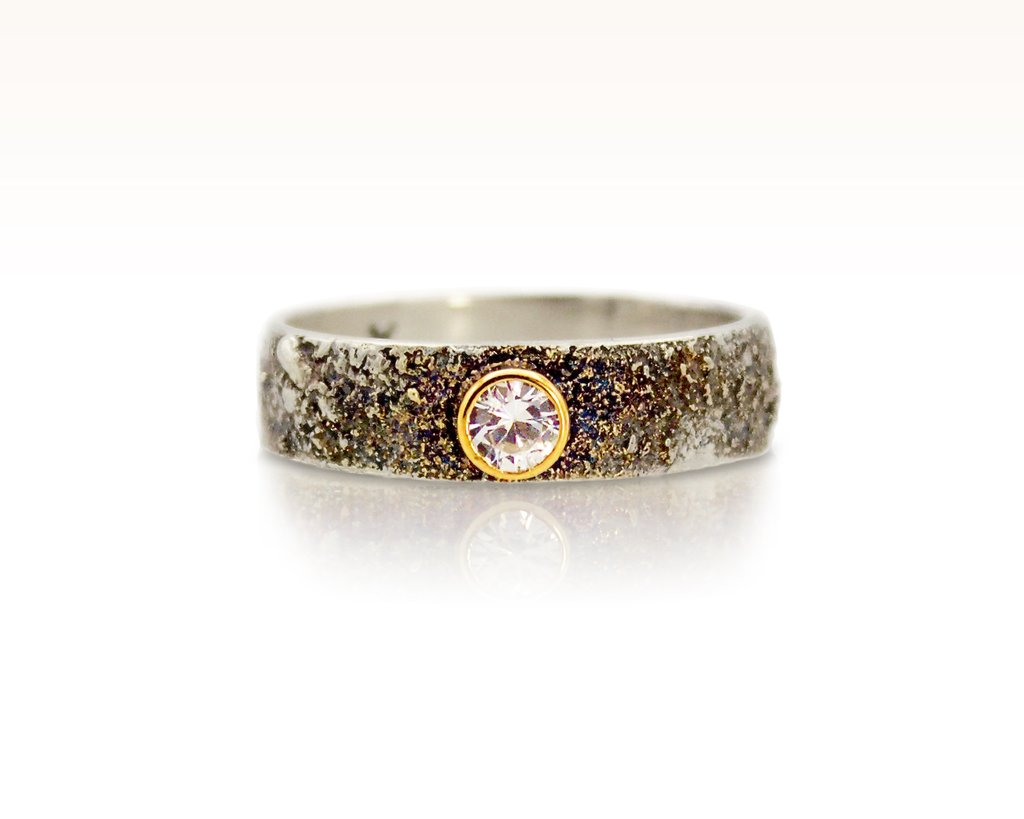 Moondust in Argentium Ring with White Sapphire by Forge & Fountain