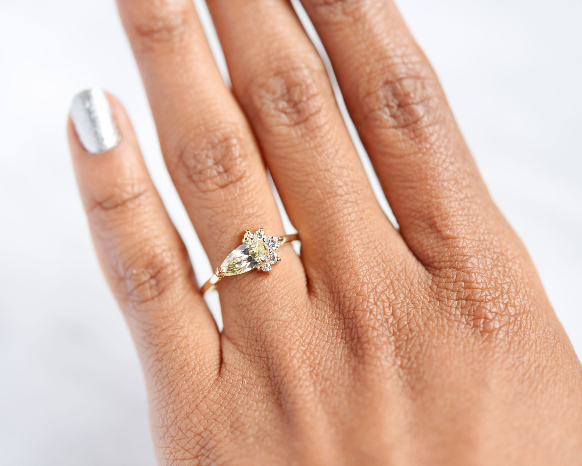 Luna Pear Cluster Diamond Ring by Valerie Madison Jewelry