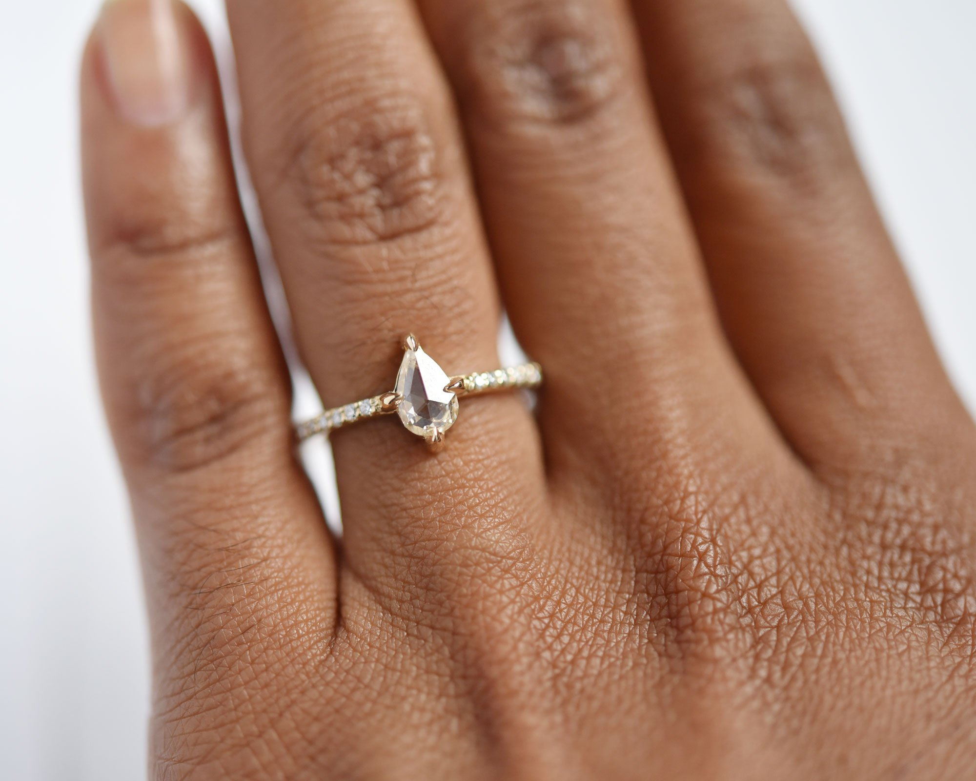 Aria Champagne Rose Cut Pear Diamond Engagement Ring by Valerie Madison Jewelry