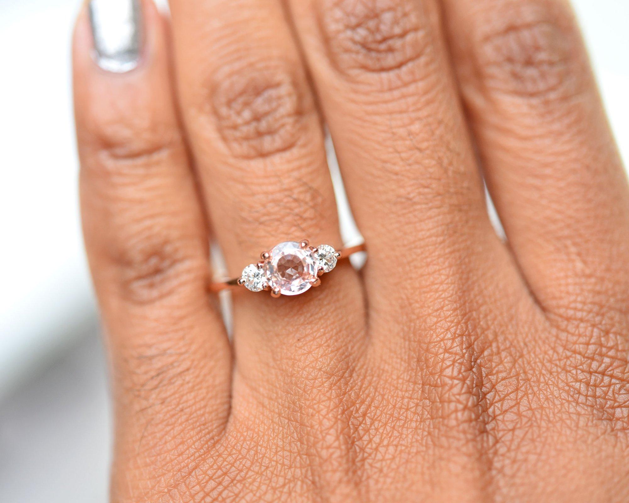 Zara Pink Sapphire Three Stone Engagement Ring by Valerie Madison Jewelry
