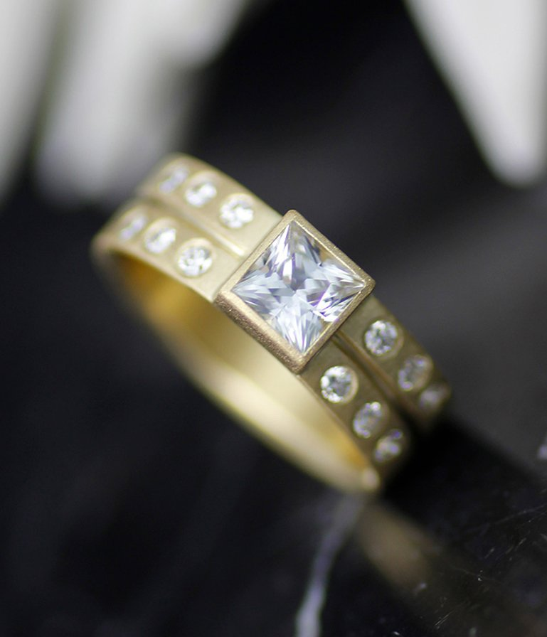 White Sapphire and Diamond All-in-One Engagement Ring and Wedding Band by Lolide