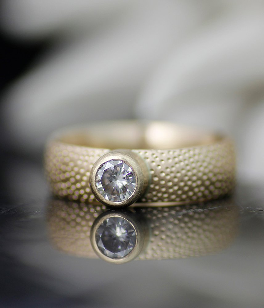 Thin Sand and Stone Engagement Ring by Lolide