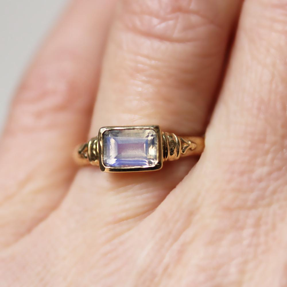 Moonstone Emerald Cut Engagement Ring by Metalicious