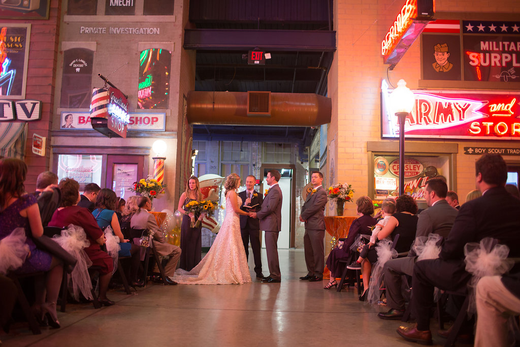 Megan and Dustin's wedding ceremony at the Cincinnati American Sign Museum
