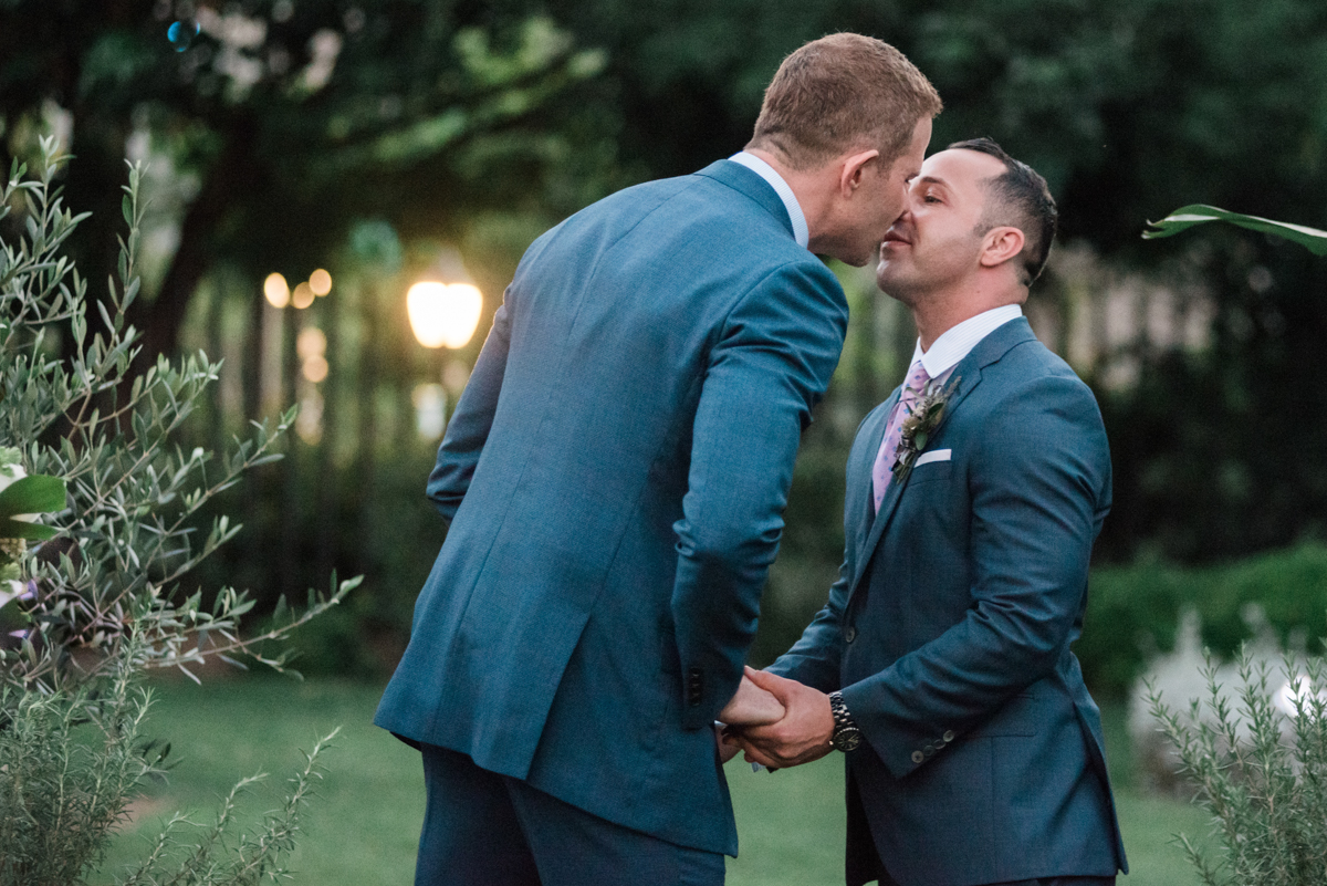 Kevin and Stefan at their wedding at the San Diego Museum of Art