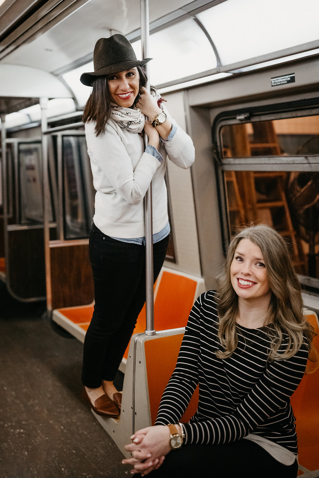 Leah and Rachel's Wedding Engagement session at the New York Transit Museum
