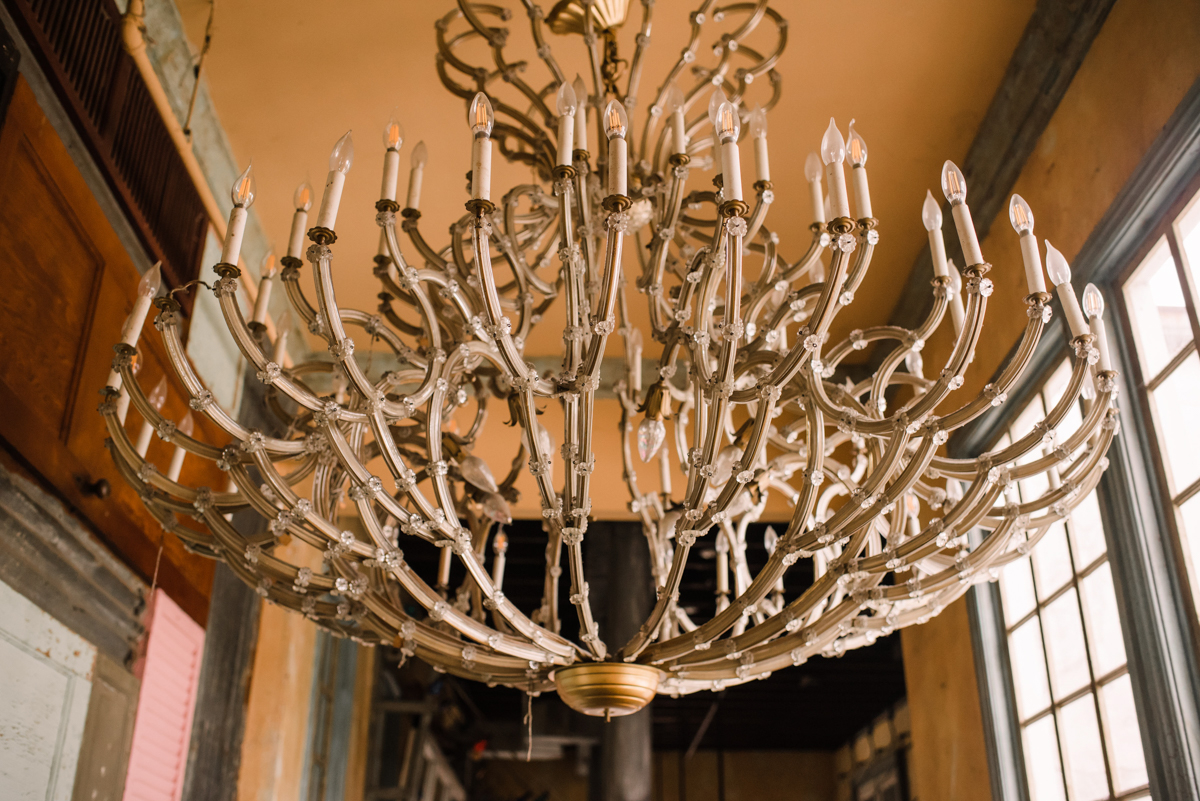 intimate wedding richmond virginia chandelier