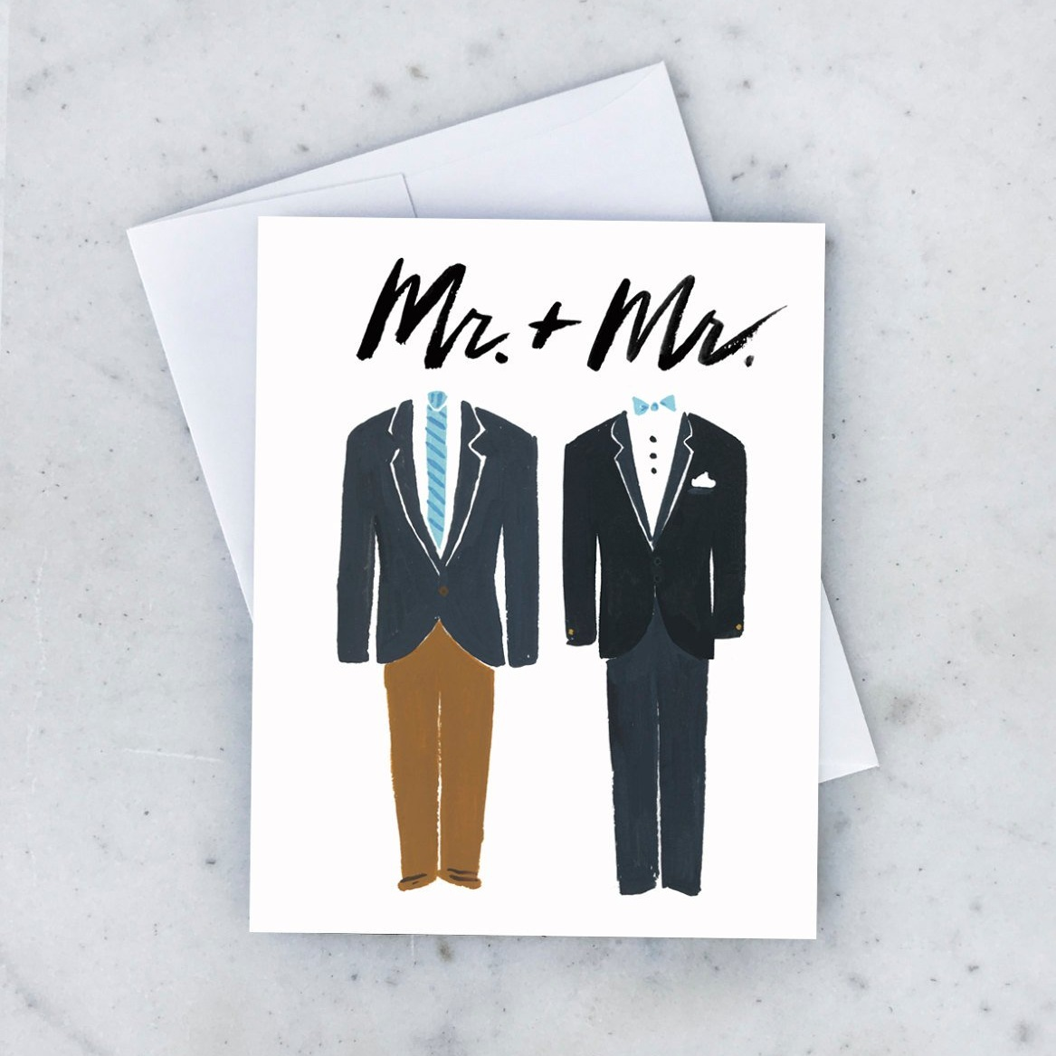 Mr. and Mr. Wedding Greeting Card by Idlewild Co .