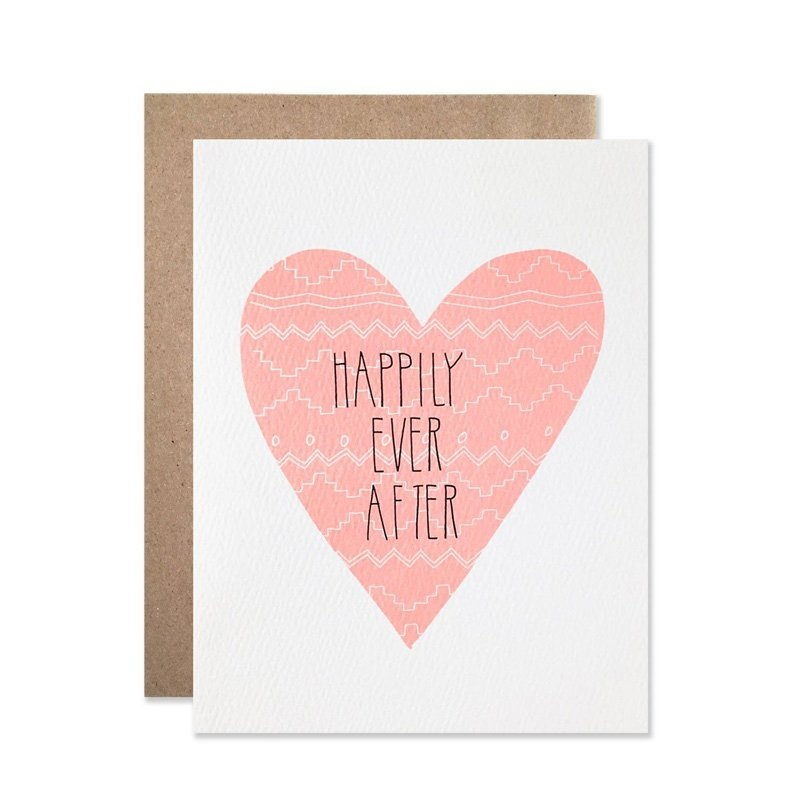 Happily Ever After Heart Wedding Greeting Card by Hartland Brooklyn