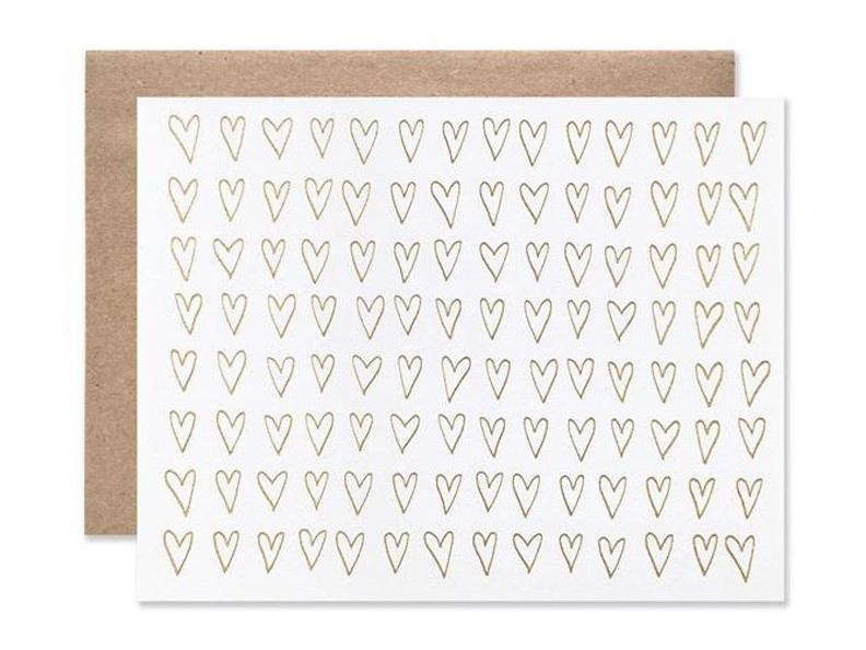 Gold Hearts Wedding Greeting Card by Hartland Brooklyn