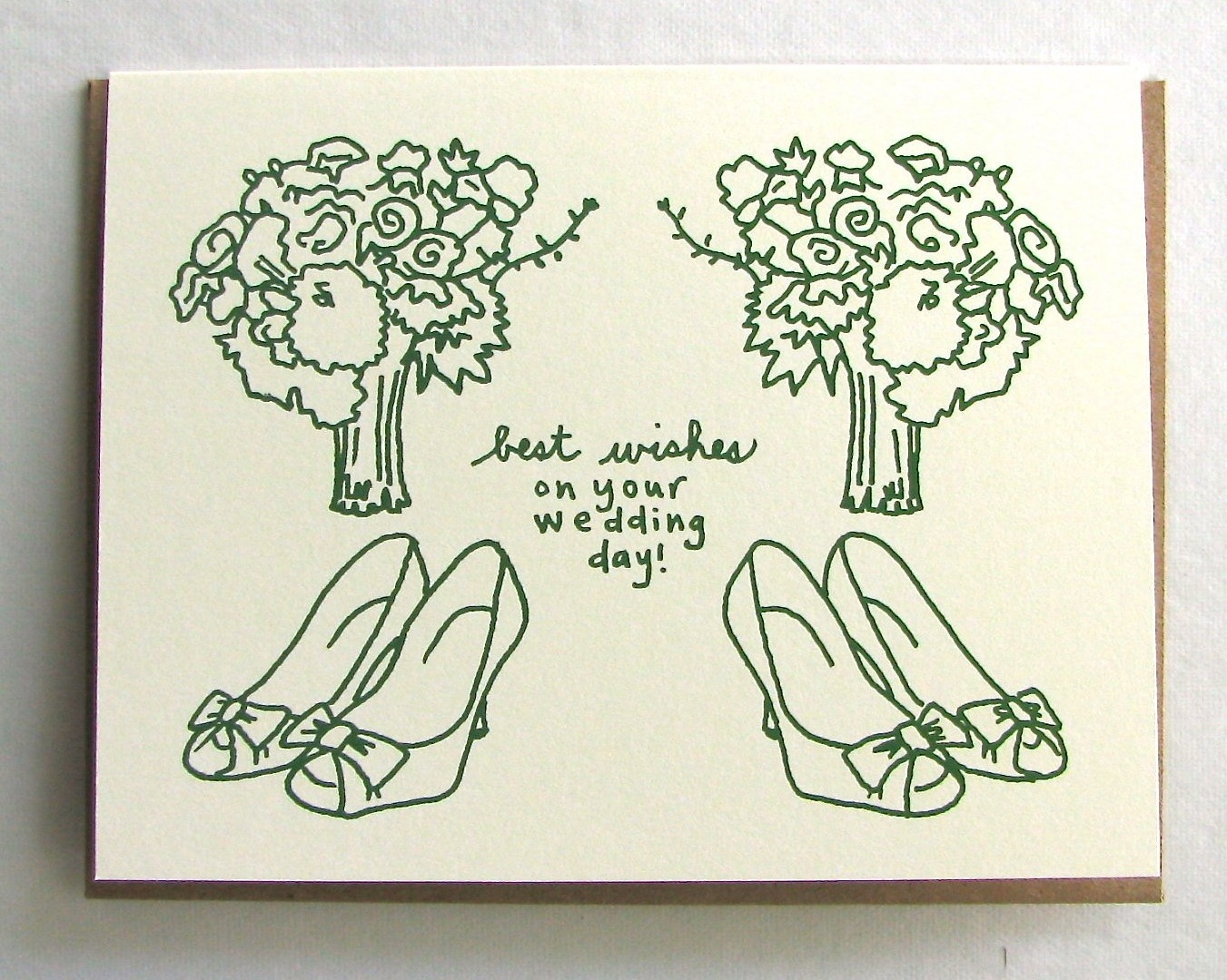 Two Bouquets Best Wishes Wedding Greeting Card by La Familia Green
