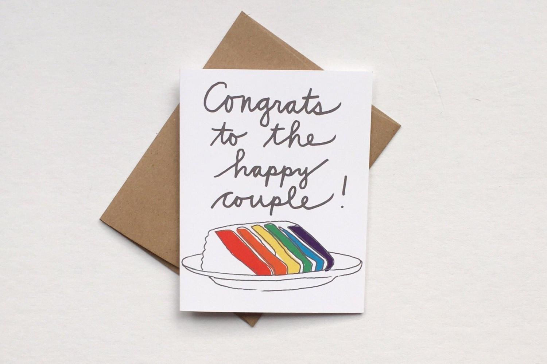 Rainbow Cake Congrats Wedding Greeting Card