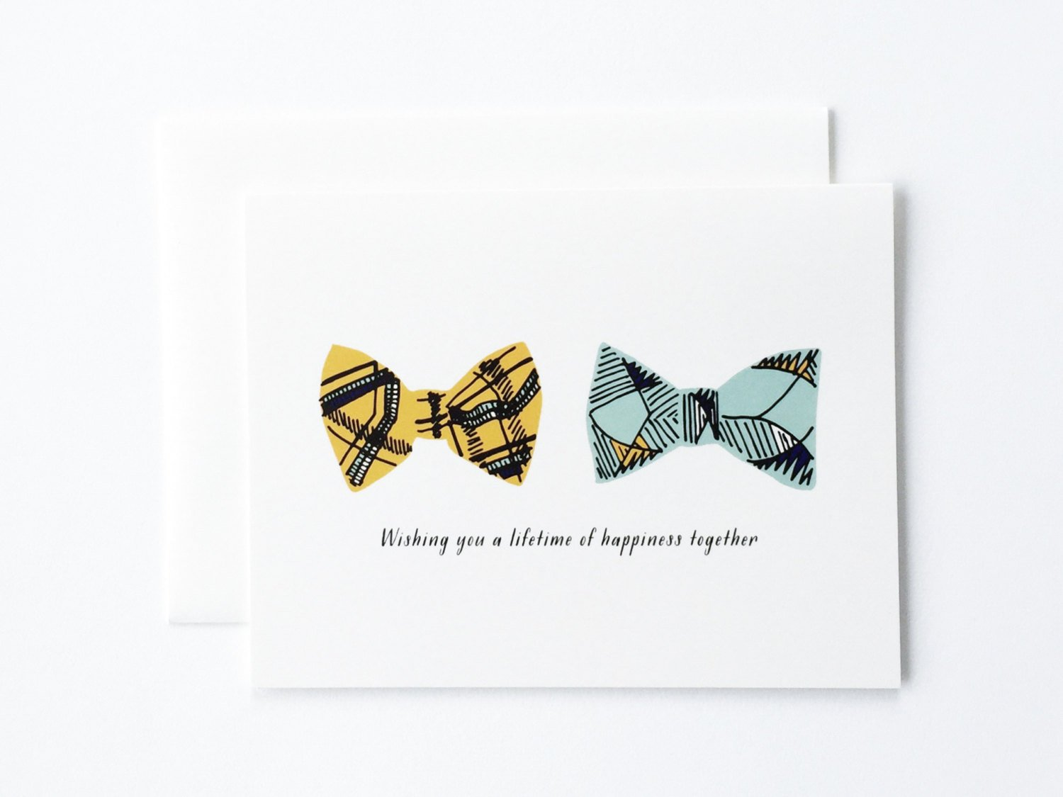 Bowtie Wedding Greeting Card by Paula and Waffle