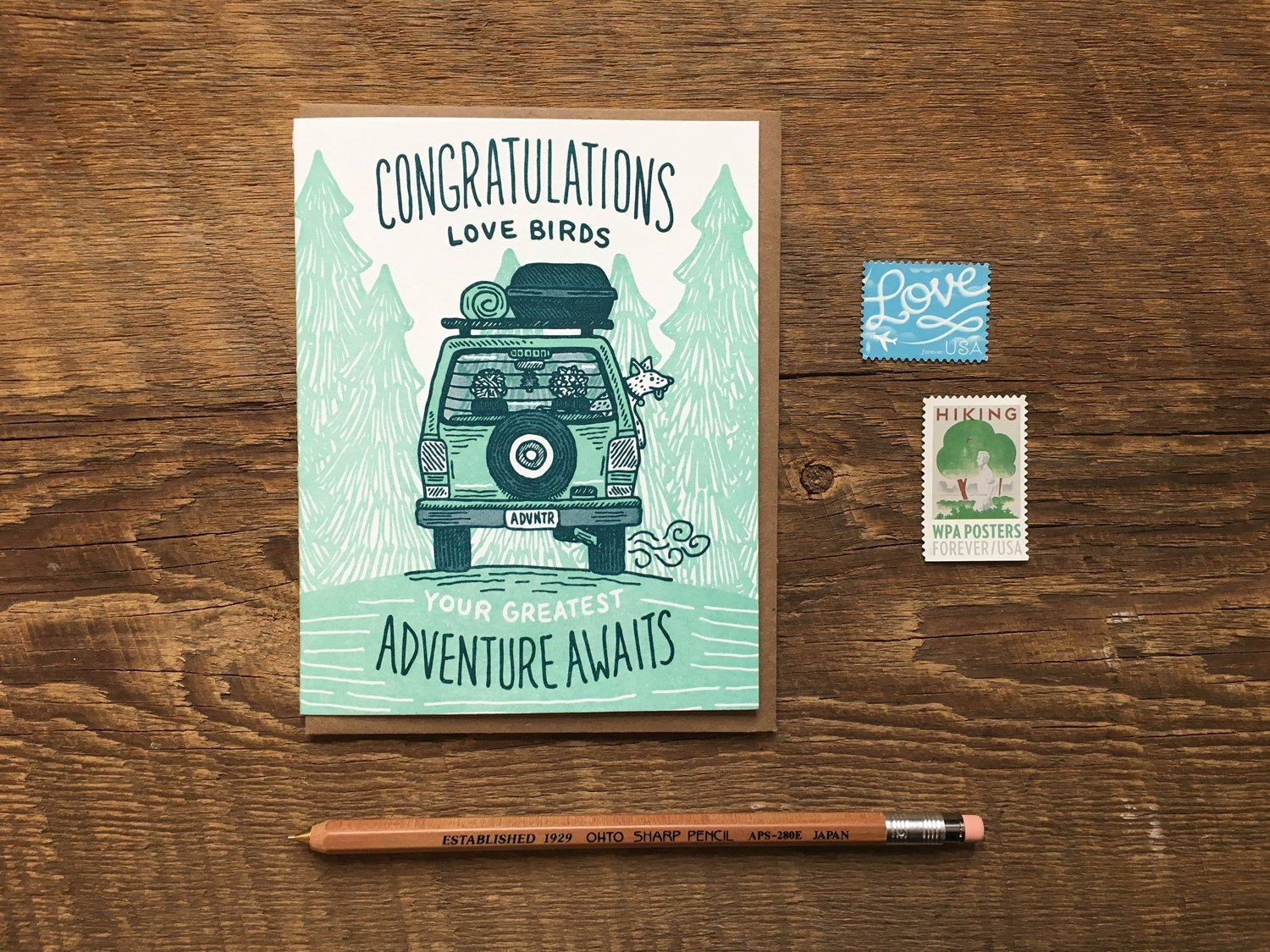 Adventure Awaits Wedding Greeting Card by Noteworthy Paper Press