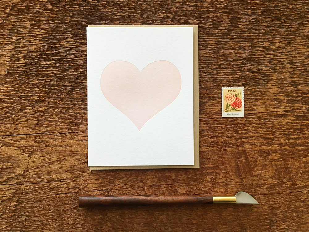 Simple Heart Letterpress Wedding Greeting Card by Noteworthy Paper Press
