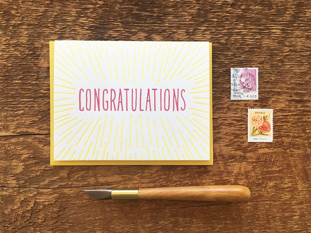 Congratulations Sunbeams Wedding Greeting Card by Noteworthy Paper Press