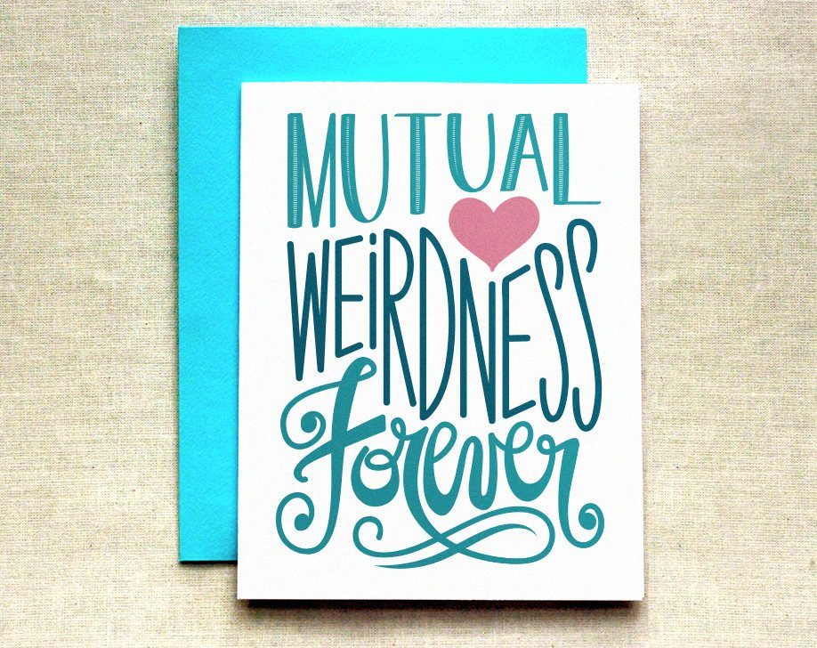 Mutual Weirdness Forever Wedding Greeting Card by Raven and Unicorn
