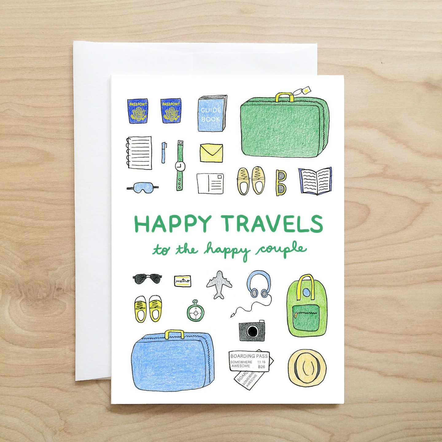 Happy Travels Wedding Greeting Card by The Dapper Jackalope