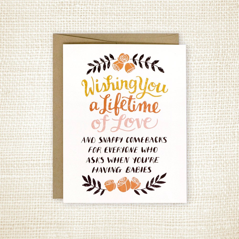 Snappy Comebacks Wedding Greeting Card by Wit and Whistle