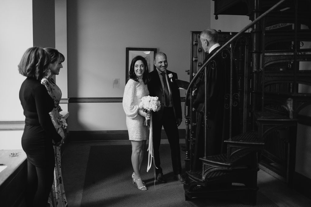 portland rainy elopement maddie maschger photography ceremony on spiral staircase
