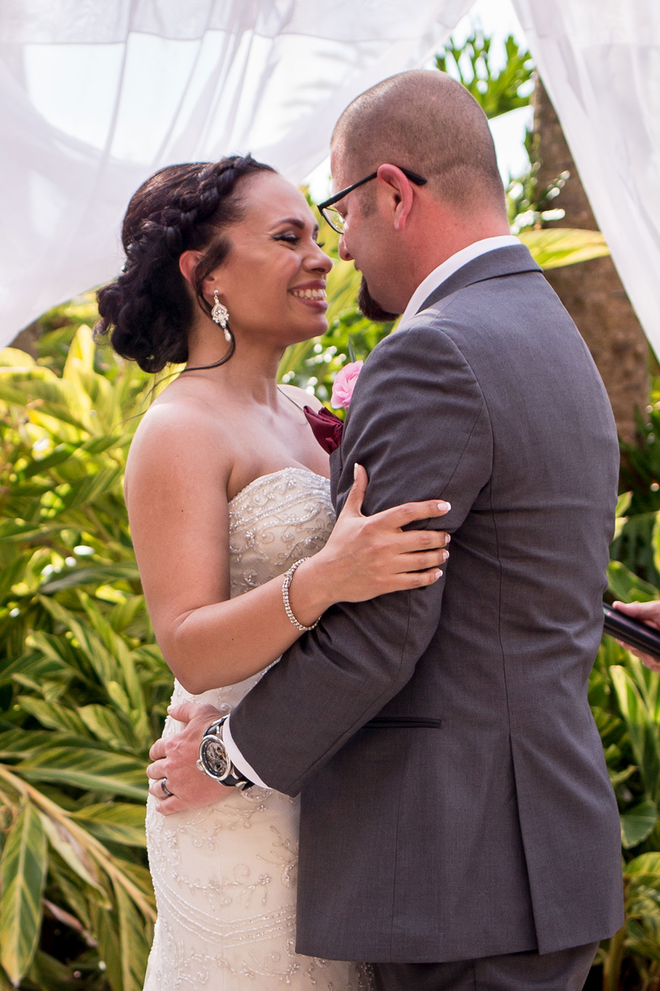 newlywed couple embracing after their wedding ceremony los angeles california crystal lily photography