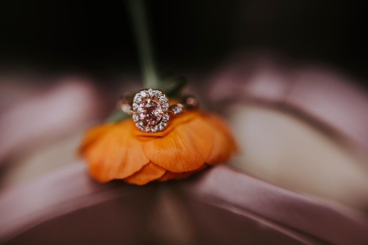 vintage vegan glam in Washington DC HFB Photography Engagement ring on flower stem