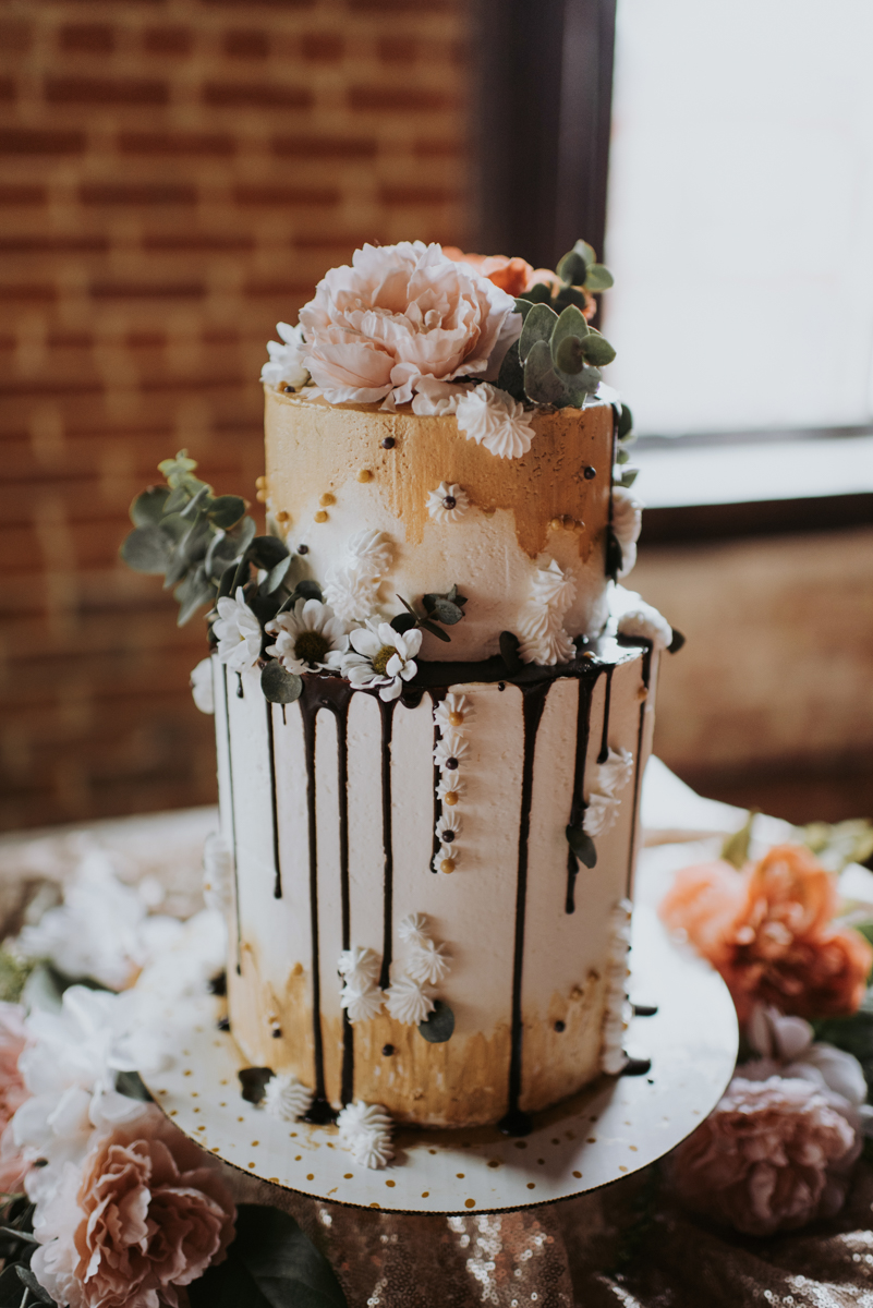 vintage vegan glam in Washington DC HFB Photography wedding cake topped with flowers and dripping chocolate