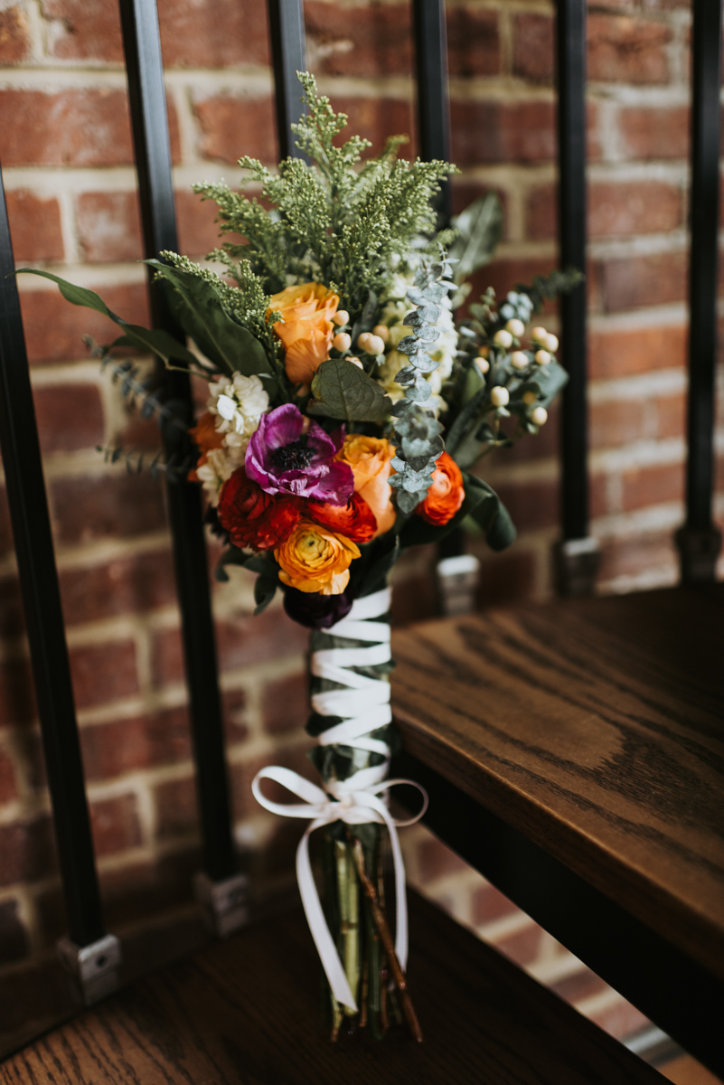 vintage vegan glam in Washington DC HFB Photography bouquet on staircase