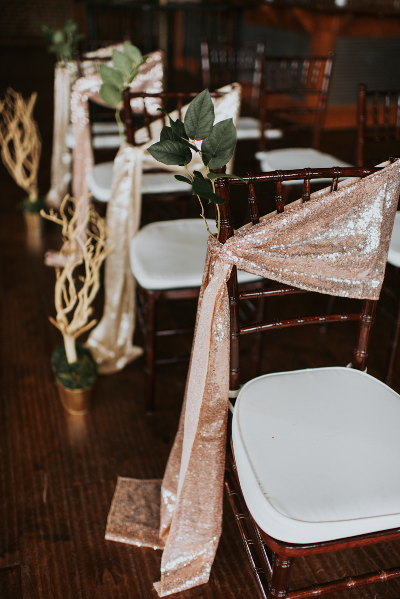 vintage vegan glam in Washington DC HFB Photography chairs with glittery fabric sashes
