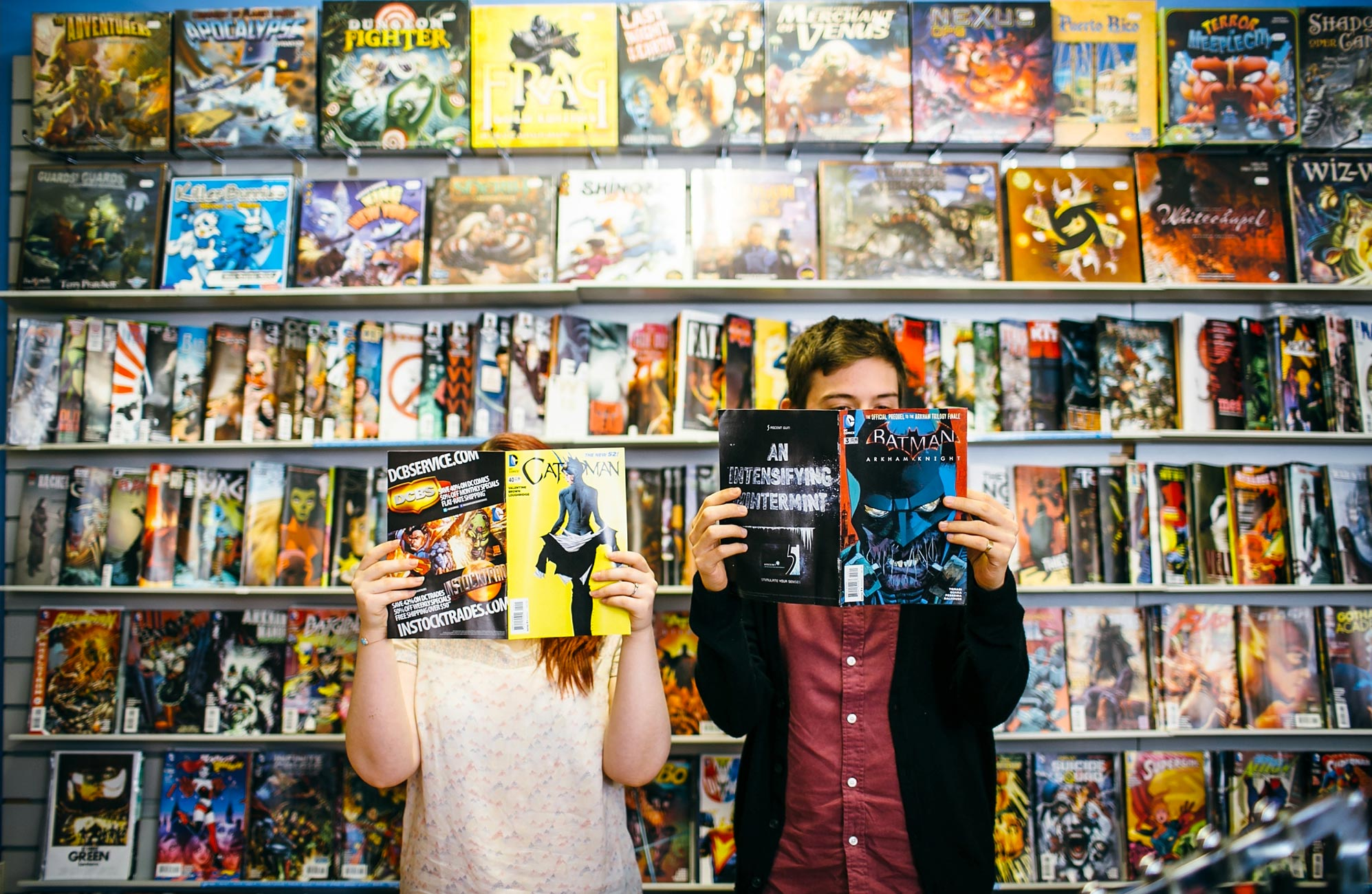Comic Book Store Wedding Engagement . Photo by Sarah Wayte Photography.