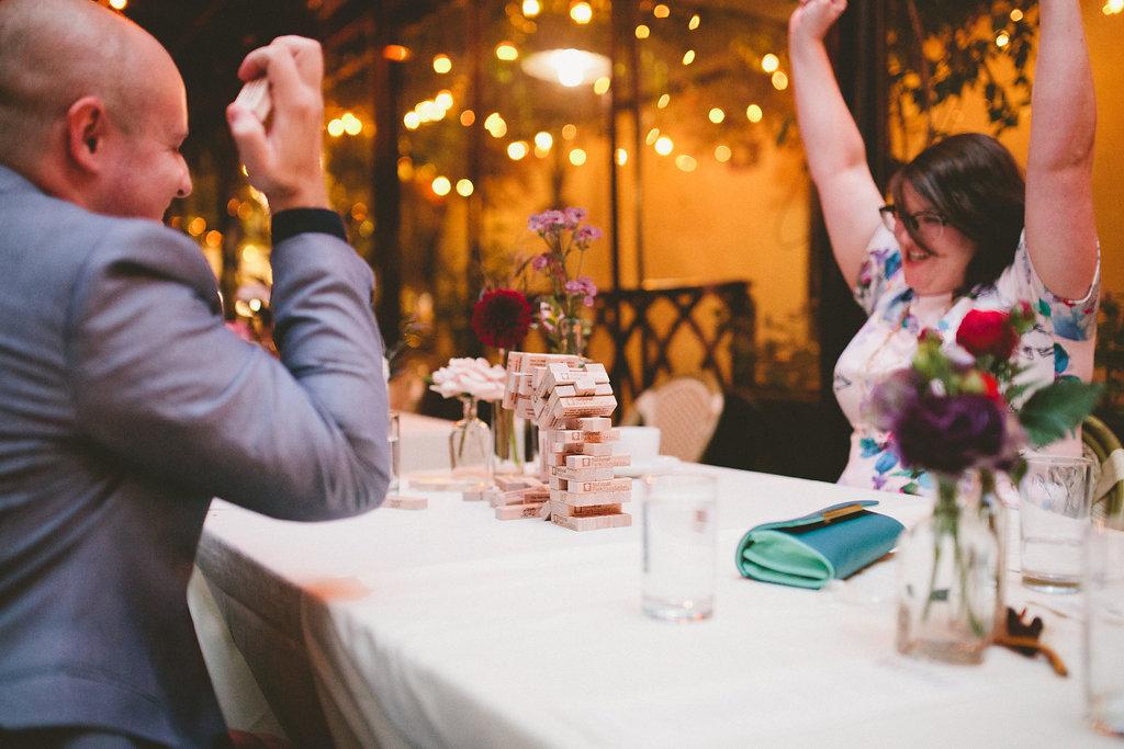Jenga Game at Mahsino + Graham's Seattle Wedding Reception . Photo by Bri McDaniel Photography.